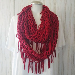 Steve Madden Maroon Fringed Knit Infinity Scarf